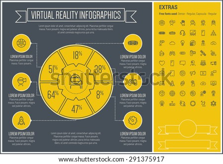 Virtual Reality infographic template and elements. The template includes the following set of icons - Virtual reality headset, gaming, robotic hand, global, smartphone and more. Modern minimalistic - stock vector