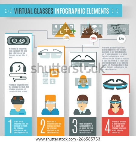 Virtual reality infographics set with glasses camera technologies elements vector illustration - stock vector