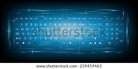 virtual shiny computer pc keyboard or keypad on blue background.dialing - stock vector