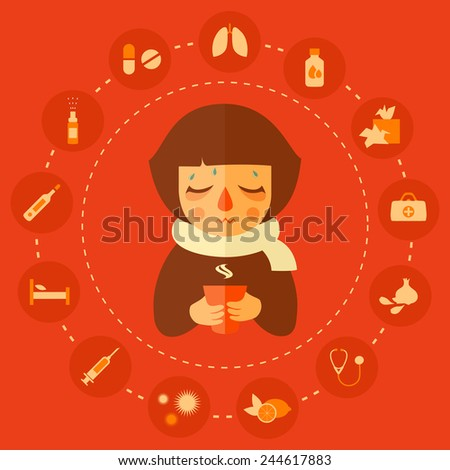 virus, allergy and cold medical icons, cold kid vector illustration   - stock vector