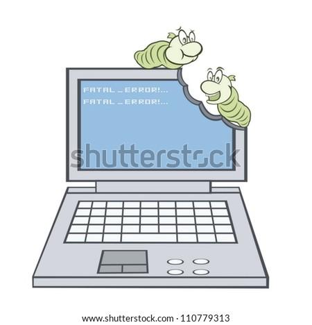 Virus broke the computer - stock vector