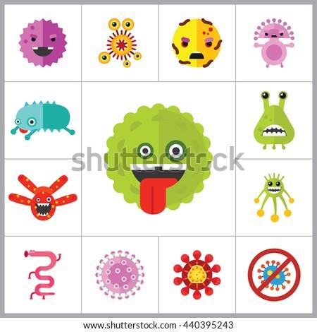 Virus Cartoon Character Icons Set - stock vector