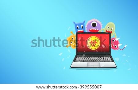 Virus computer destroying laptop - stock vector