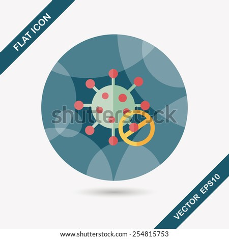 virus flat icon with long shadow - stock vector