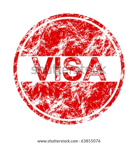 visa label - stock vector