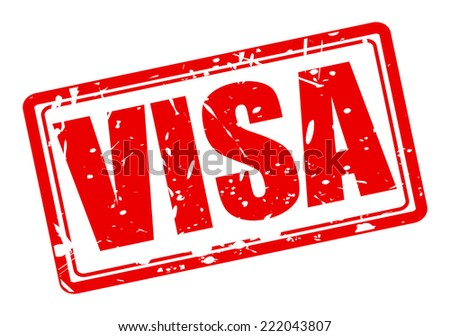 VISA red stamp text on white - stock vector