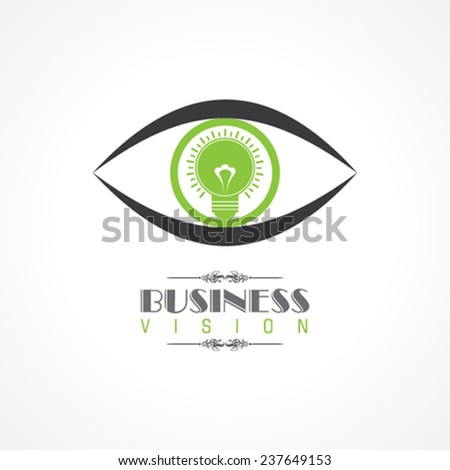 vision and idea concept- eye with light bulb symbol stock vector - stock vector