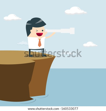 Vision Business, businessman look The future. businessman using binoculars. Vision of Business, vector - stock vector
