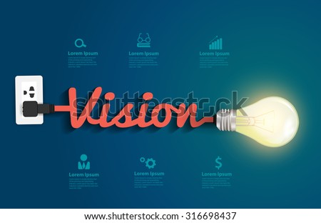Vision concept with creative light bulb idea, Vector illustration modern design template - stock vector