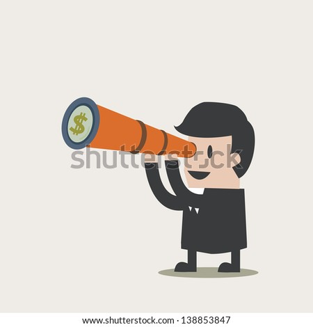 Vision  money of Businessman - stock vector