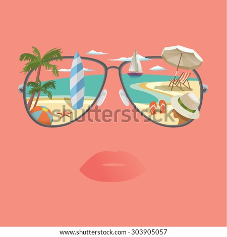 Vision of relax beach scene, showing surfboard, yacht, parasol. - stock vector