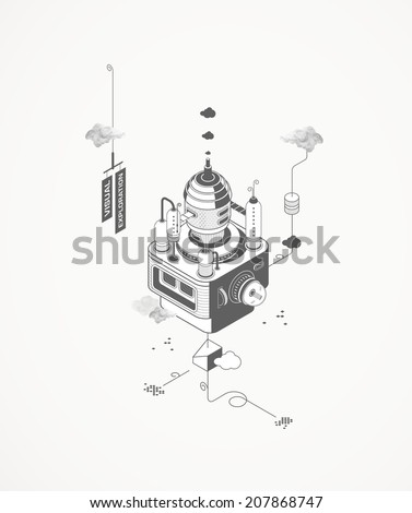 Visual Command Center Lab - stock vector