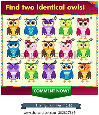 Visual Game for children. Task: find two identical owls! Answer: 10 and 12.  - stock vector