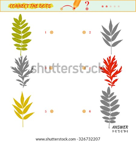 Visual game for kid. Matching applications game. Connect the dots picture. Puzzle, maze, jigsaw, quiz, rebus, game for preschool child. Cartoon leaves - stock vector