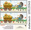 Visual puzzle or picture riddle: Find the ten differences between the two pictures - donkey pulling a cart with pumpkins in the rainy autumn day - stock vector