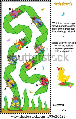 Visual puzzle to reinforce spatial abilities of the mind: Which of these bugs crawl along the same side of the grass leaf? Plus same task text in Russian. Answer included.  - stock vector