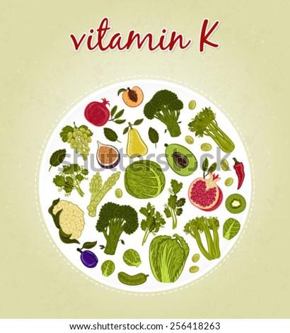 Vitamin K - Fruits and Vegetables (vector illustration) - stock vector