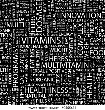 VITAMINS. Seamless vector background. Illustration with different association terms. - stock vector
