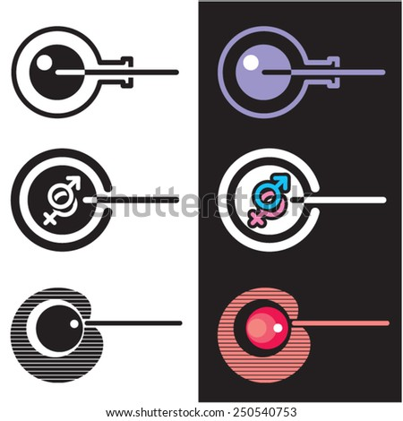 Vitro fertilization. Icon. Vector. 2 Stylized image of artificial insemination. Graphic element. Logo. - stock vector