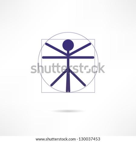 Vitruvian Man icon - stock vector