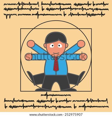 Vitruvian man in modern man cartoon version - stock vector