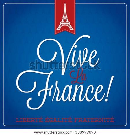 Vive La France Bastille Day card - stock vector