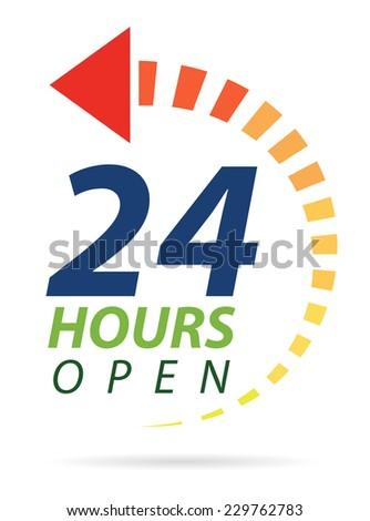 Vivid color 24 hours icon - stock vector