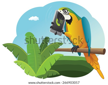 Vivid parrot is sitting on the perch and talking on the smart phone - stock vector