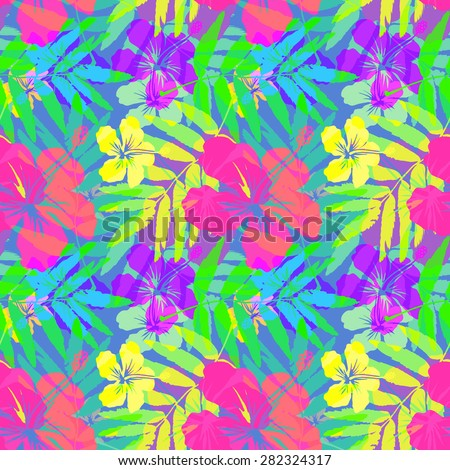 Vivid tropical flowers and leaves vector seamless pattern tile - stock vector