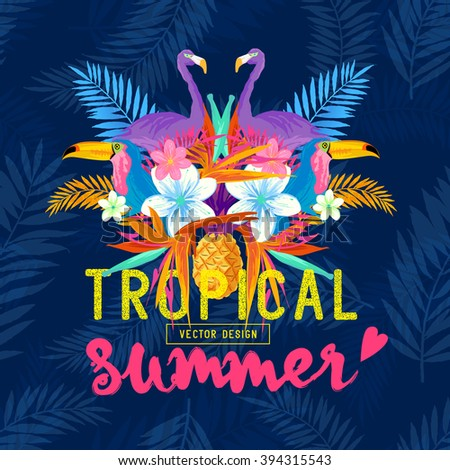 Vivid Tropical Love. Tropic elements including Pelicans, Palms, Toucans, Bird of paradise flowers and pineapples. - stock vector