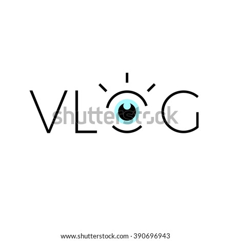 Vlog line icon. With eye graphic. - stock vector