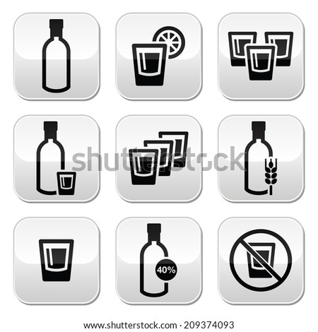 Vodka, strong alcohol buttons set  - stock vector