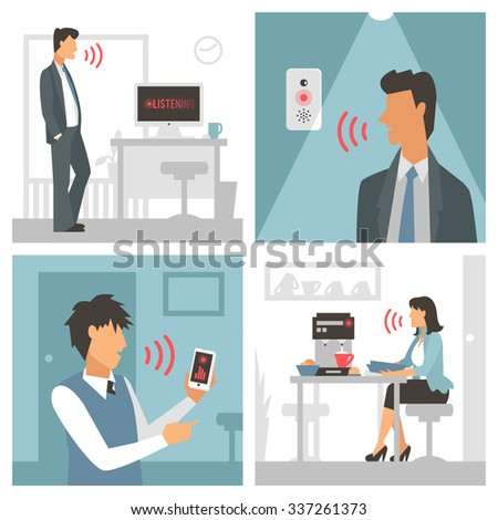 Voice control vector illustration. Smart computer voice control with human voice. Smart phone, smart house, modern computer technology.Voice control man and woman command background.Voice control icon - stock vector