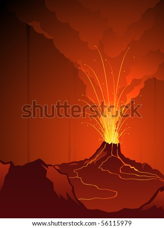 Volcanic landscape with noxious clouds and rivers of lava - stock vector