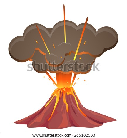 Volcano blowing up with lava flowing down - stock vector