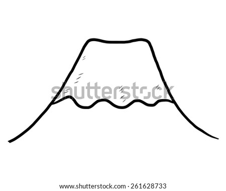 volcano snow mountain, Fuji mountain / cartoon vector and illustration, black and white, hand drawn, sketch style, isolated on white background. - stock vector