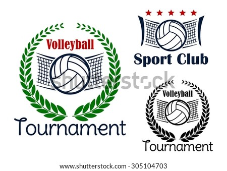 Volleyball club and tournament emblems with volleyball balls, net and green laurel wreath - stock vector