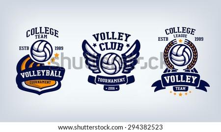 volleyball club emblem, college league logo,  design template element, volleyball tournament. - stock vector