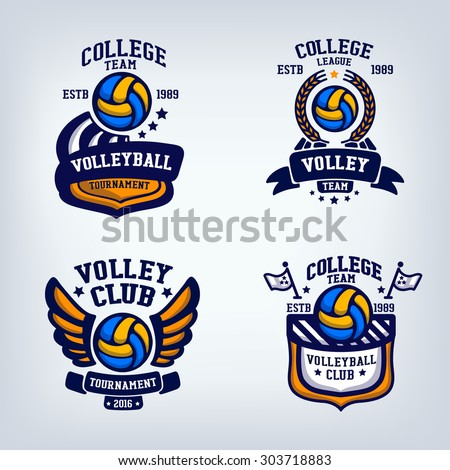 volleyball club emblem, college league logo,  design template element, volleyball tournament, contest, tug, rush, competition, contest, emulation, game, comp - stock vector