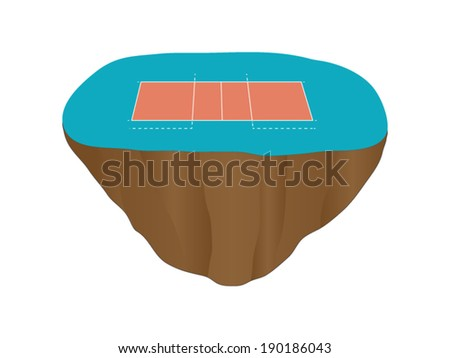 Volleyball Court Floating Island 1 - stock vector