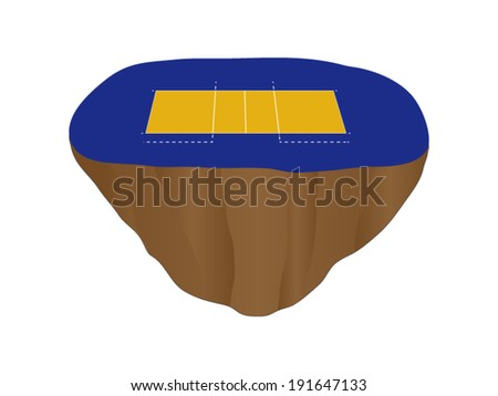 Volleyball Court Floating Island 3 - stock vector