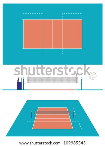 Volleyball Court with Section and Perspective - stock vector