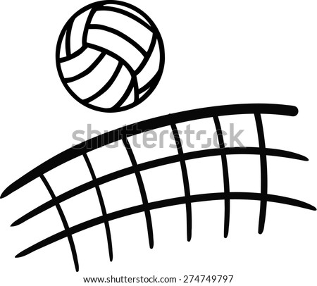 Volleyball flying over net - stock vector
