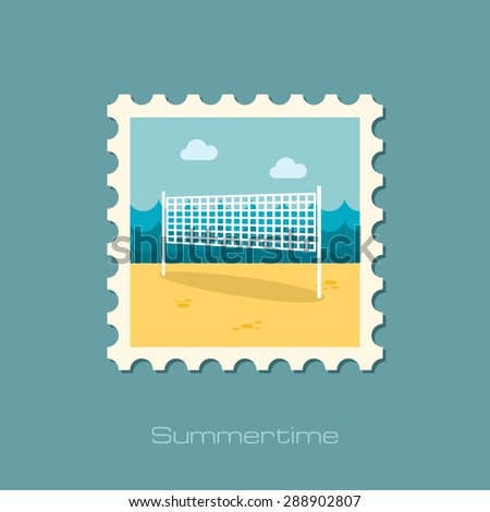 Volleyball net beach sport flat stamp - stock vector