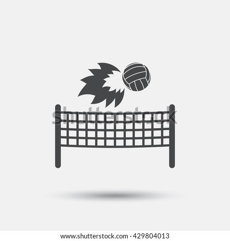 Volleyball net with fireball sign icon. Beach sport symbol. Flat volleyball web icon on white background. Vector - stock vector