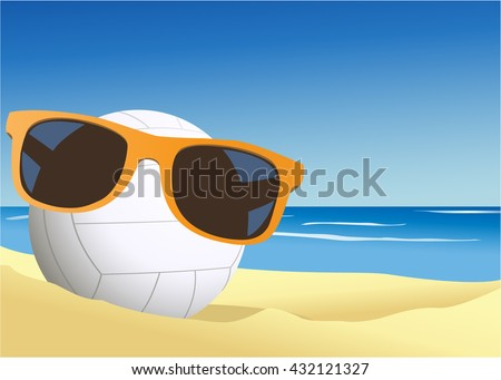 Volleyball on the beach sand - stock vector