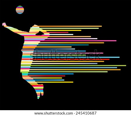 Volleyball player vector silhouette background concept made of stripes - stock vector
