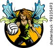 Volleyball Sport Fairy Girl with Wings and Ball Vector Illustration - stock vector
