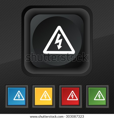 voltage icon symbol. Set of five colorful, stylish buttons on black texture for your design. Vector illustration - stock vector