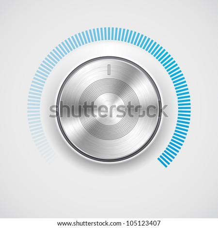 Volume button (music knob) with metal texture (chrome) - stock vector